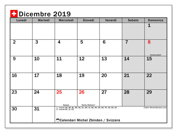 Calendario dicembre 2019, con giorni festivi della Svizzera. Calendario da stampare gratuita con giorni festivi.