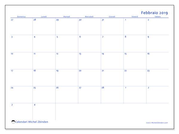 Calendario febbraio 2019, 73DS. Calendario per la stampa gratis.