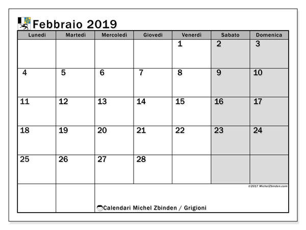 Calendari febbraio 2019, con giorini festivi del Cantone dei Grigioni. Calendario per la stampa gratis.