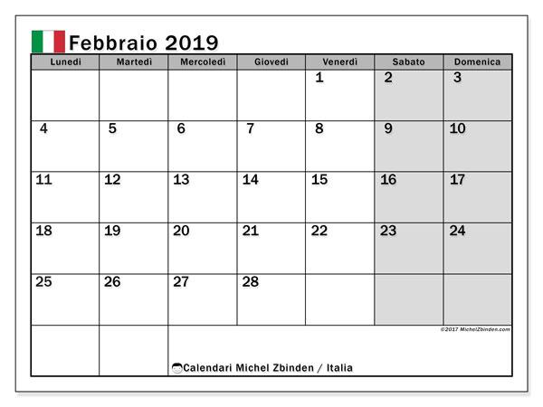 Calendari febbraio 2019, con giorni festivi in Italia. Calendario gratuito da stampare.