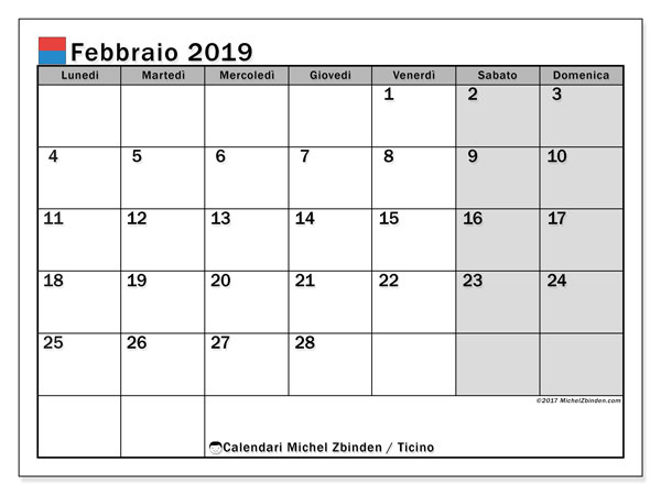 Calendario febbraio 2019, con giorni festivi in Ticino. Calendario da stampare gratuita con giorni festivi.