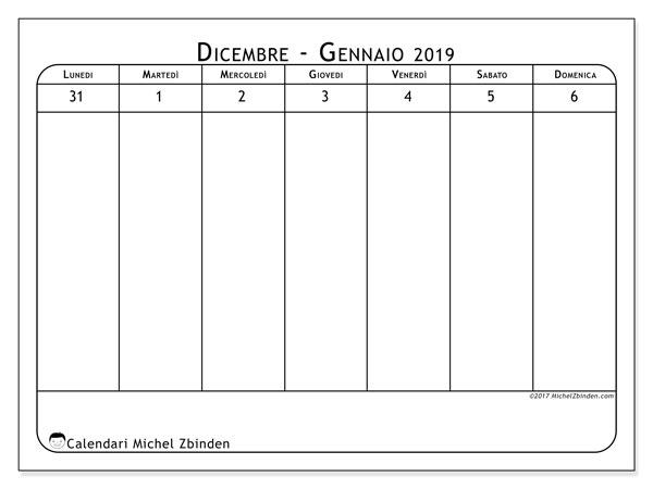 Calendario gennaio 2019, 43-1LD. Calendario da stampare gratis.