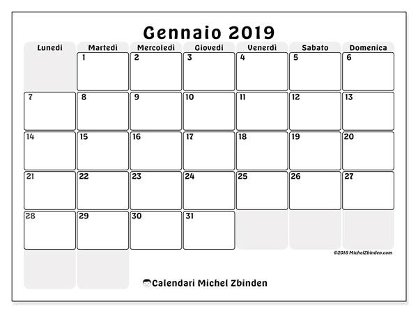 Calendario gennaio 2019, 44LD. Calendario stampabile gratuito.