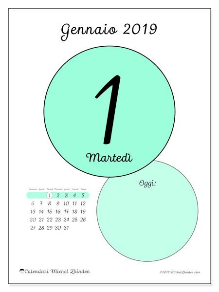 Calendario gennaio 2019, 45-1DS. Calendario giornaliero da stampare gratuitamente.
