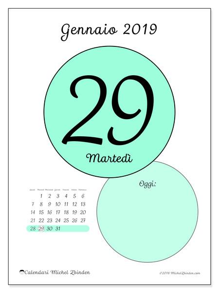 Calendario gennaio 2019, 45-29LD. Calendario giornaliero da stampare gratuitamente.