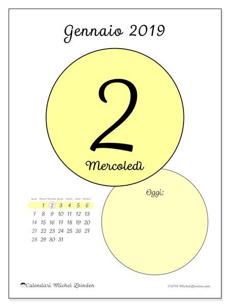 Calendario gennaio 2019, 45-2LD. Calendario giornaliero da stampare gratuitamente.
