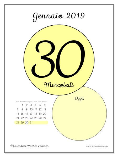 Calendario gennaio 2019, 45-30LD. Calendario giornaliero da stampare gratuitamente.