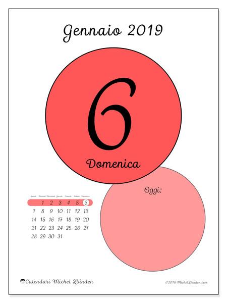 Calendario gennaio 2019 (45-6LD). Calendario giornaliero da stampare gratuitamente.