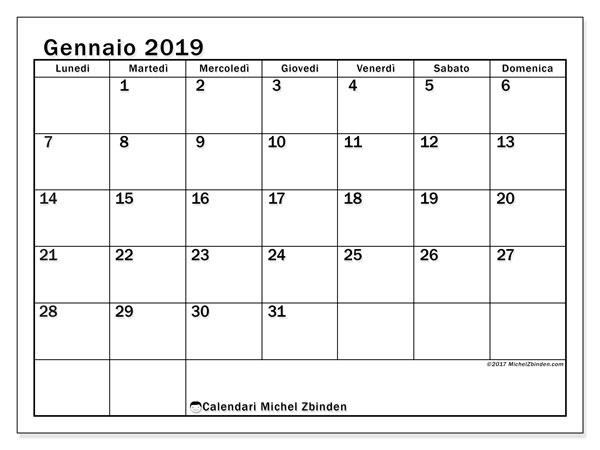 Calendario gennaio 2019 (50LD). Orario da stampare gratis.