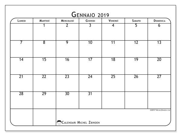 Calendario gennaio 2019, 51LD. Calendario gratuito da stampare.