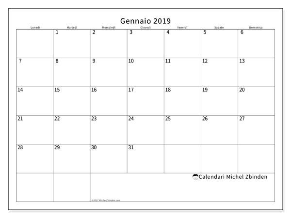 Calendario gennaio 2019 (53LD). Calendario per il mese da stampare gratuitamente.