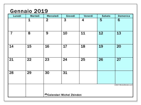 Calendario gennaio 2019 (59LD). Calendario per il mese da stampare gratuitamente.