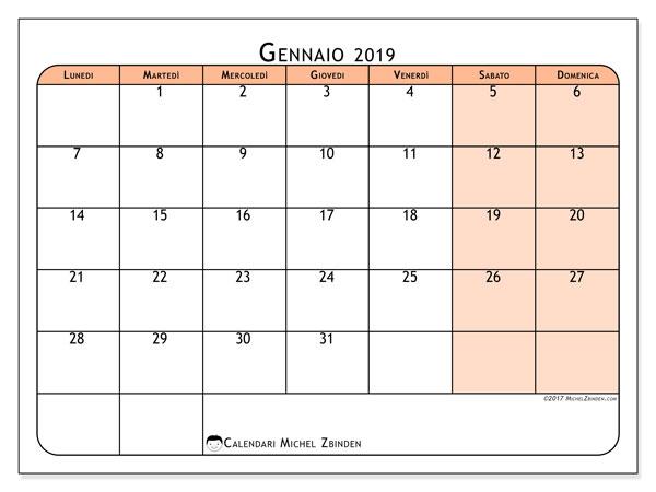 Calendario gennaio 2019 (61LD). Calendario per il mese da stampare gratuitamente.