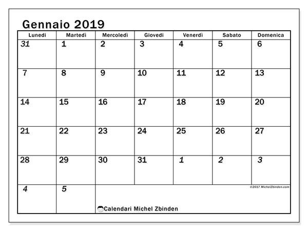 Calendario gennaio 2019 (66LD). Calendario per la stampa gratis.