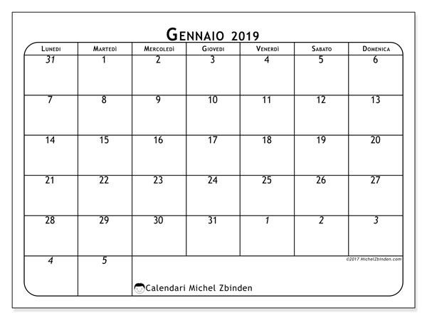 Calendario gennaio 2019 (67LD). Calendario mensile da stampare gratuitamente.