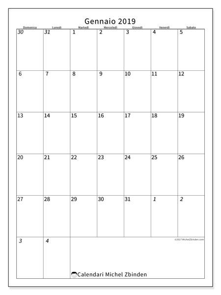 Calendario gennaio 2019, 68DS. Calendario gratuito da stampare.
