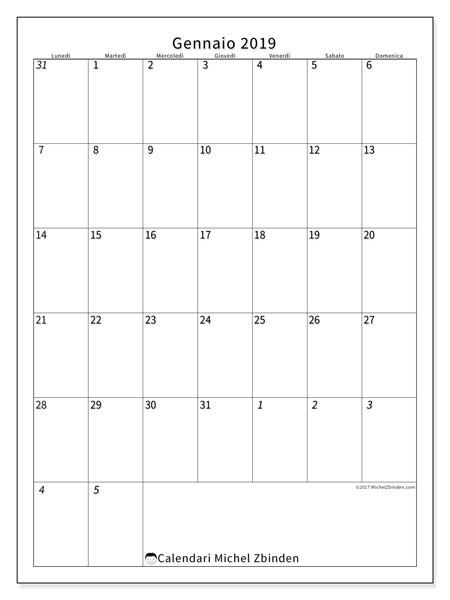 Calendario gennaio 2019, 68LD. Calendario per il mese da stampare gratuitamente.