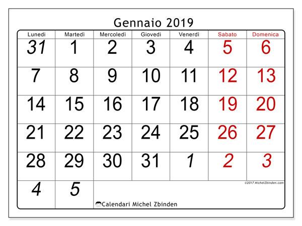Calendario gennaio 2019 (72LD). Calendario gratuito da stampare.