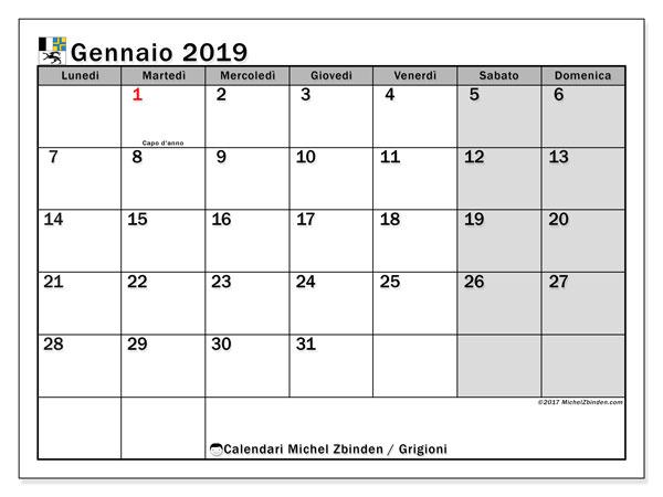 Calendari gennaio 2019, con giorini festivi del Cantone dei Grigioni. Calendario gratuito da stampare.