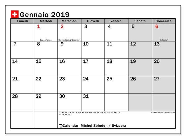Calendari gennaio 2019, con giorini festivi della Svizzera. Calendario per la stampa gratis.