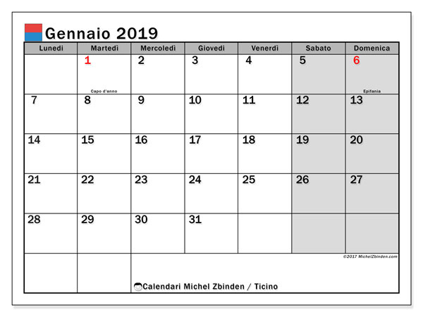 Calendari gennaio 2019, con giorini festivi in Ticino. Calendario da stampare gratis.