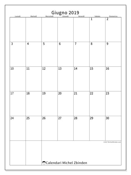 Calendario giugno 2019, 52LD. Calendario da stampare gratis.