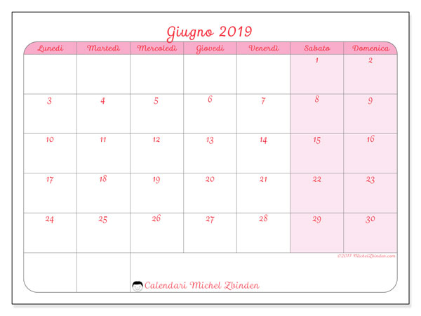 Calendario giugno 2019, 63LD. Orario da stampare gratis.