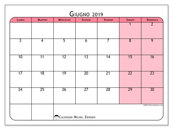 Calendario giugno 2019, 64LD. Calendario per il mese da stampare gratuitamente.