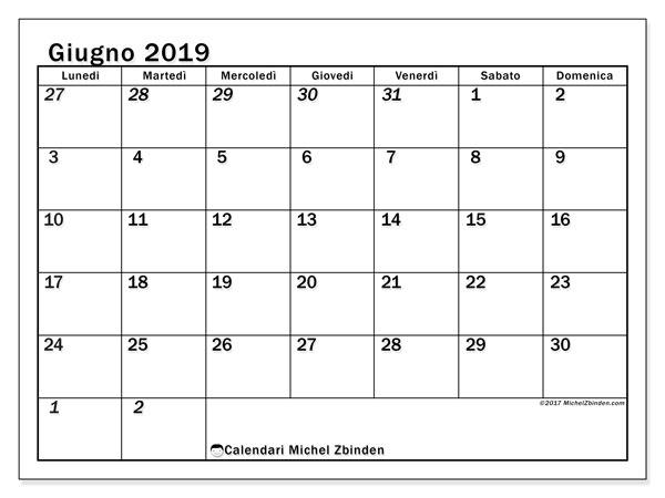 Calendario giugno 2019, 66LD. Calendario da stampare gratis.