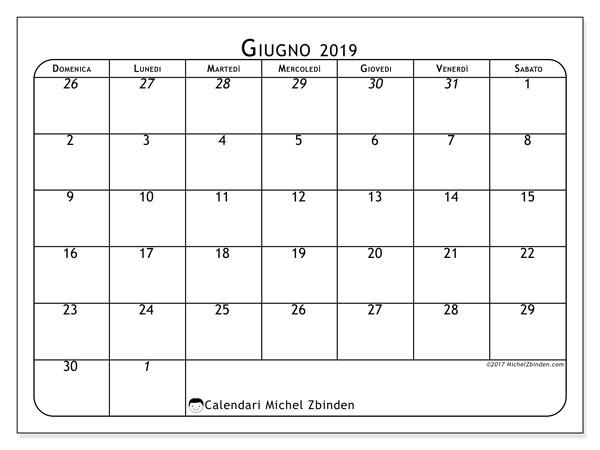 Calendario Mese Giugno.Calendario Giugno 2019 67ds Michel Zbinden It