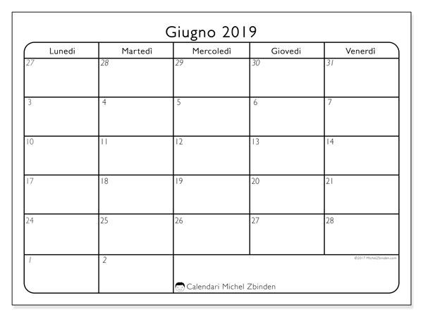 Calendario giugno 2019, 74LV. Calendario per la stampa gratis.