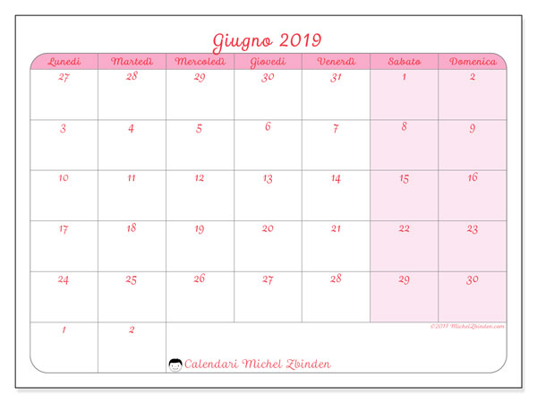 Calendario Da Stampare Gratis.Calendario Giugno 2019 76ld Michel Zbinden It