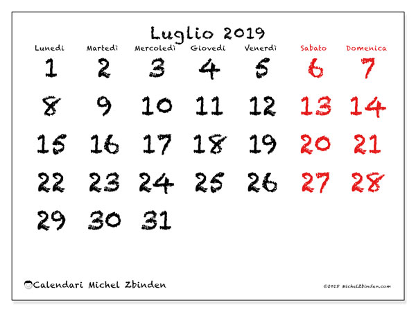 Calendario Appunti 2019.Calendari Luglio 2019 Ld Michel Zbinden It