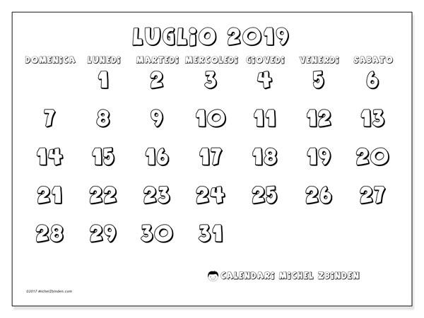 Calendario 31 Luglio.Calendario Luglio 2019 56ds Michel Zbinden It