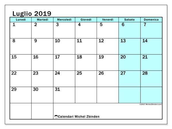 Calendario luglio 2019 (59LD). Calendario stampabile gratuito.