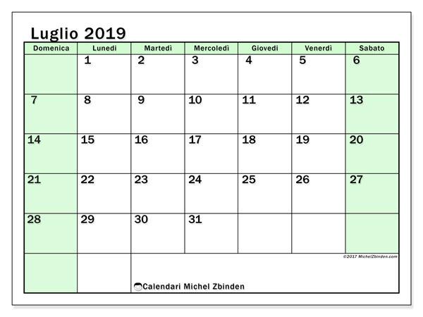 Calendario luglio 2019, 60DS. Calendario per la stampa gratis.