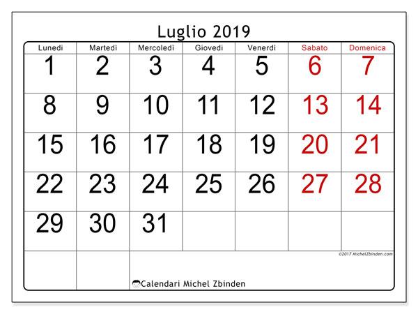 Calendario 31 Luglio 2019.Calendario Luglio 2019 62ld Michel Zbinden It