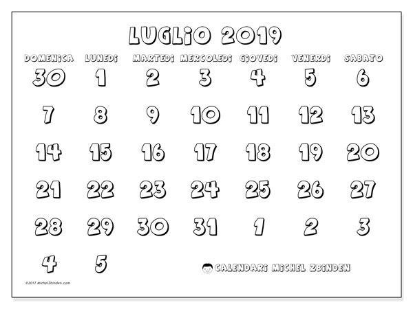 Calendario Luglio 2019 71ds Michel Zbinden It