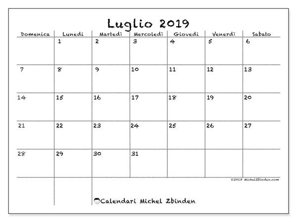 Calendario Mese Di Luglio 2019 Da Stampare.Calendario Luglio 2019 77ds Michel Zbinden It