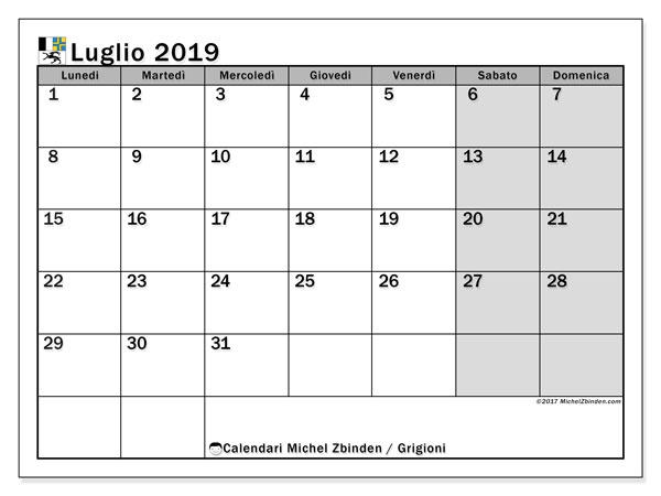 Calendari luglio 2019, con giorini festivi del Cantone dei Grigioni. Orario da stampare gratis.
