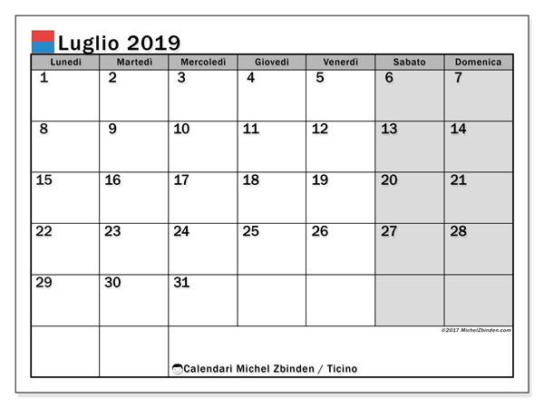 Calendari luglio 2019, con giorini festivi in Ticino. Calendario da stampare gratis.