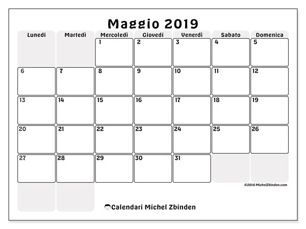 Calendario Mese Maggio 2019.Calendari Maggio 2019 Ld Michel Zbinden It