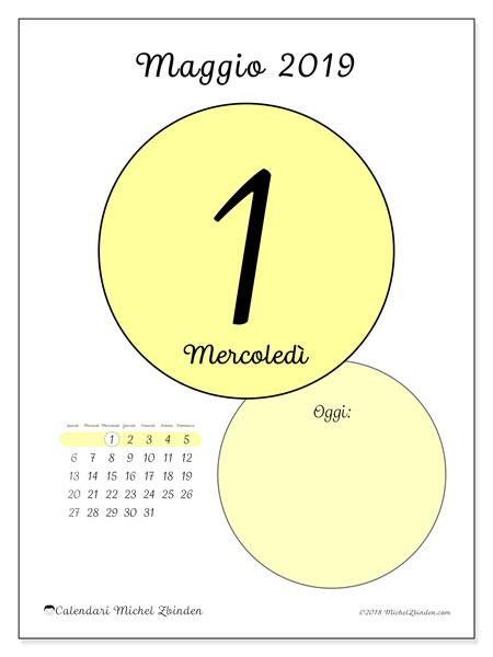 Calendario maggio 2019, 45-1LD. Calendario per il giorno da stampare gratuitamente.