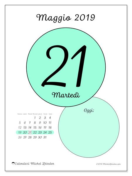 Calendario maggio 2019 (45-21DS). Calendario giornaliero da stampare gratuitamente.