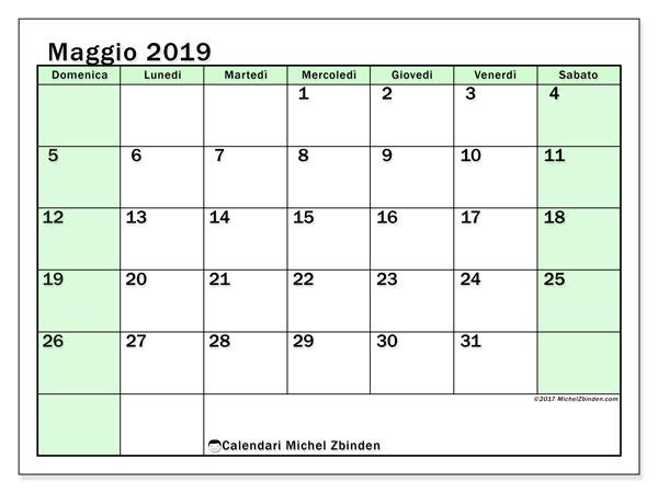 Calendario maggio 2019, 60DS. Calendario mensile da stampare gratuitamente.