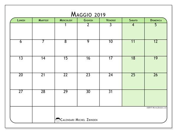 Calendario Maggio 2020 Da Stampare.Calendario Settimanale Maggio 2019 Zwiftitaly