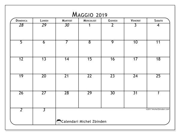 Calendario maggio 2019 (67DS). Calendario per il mese da stampare gratuitamente.