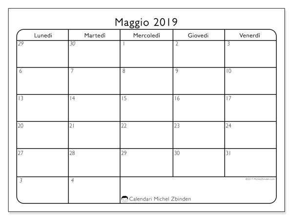 Calendario maggio 2019, 74LV. Calendario stampabile gratuito.