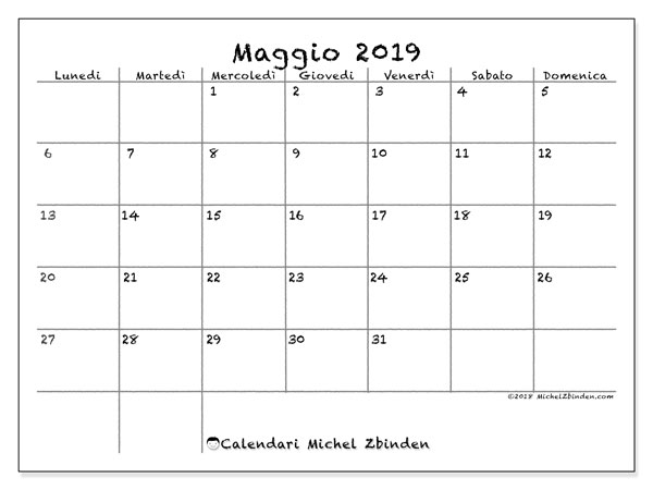 Calendario Mese Maggio 2019.Calendario Maggio 2019 77ld Michel Zbinden It
