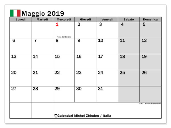 Calendari maggio 2019, con  in Italia. Calendario da stampare gratis.